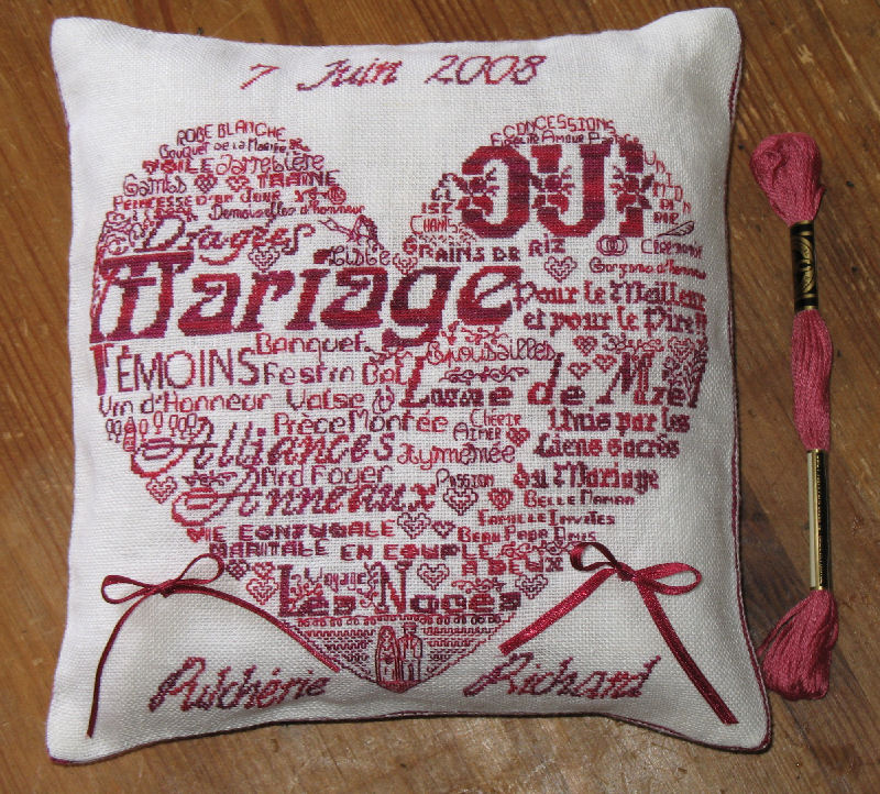 coussin alliance broderie #2
