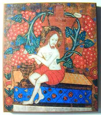 Le christ, la vraie vigne, icône roumaine