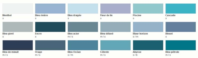 Nuancier colours castorama for Nuancier bleu canard