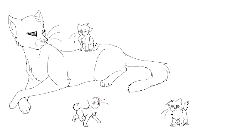 Queen and kit lineart o3o 39 for Warrior cats coloring pages
