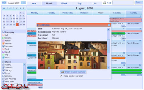 Web Calendar Pad 2010.7.3